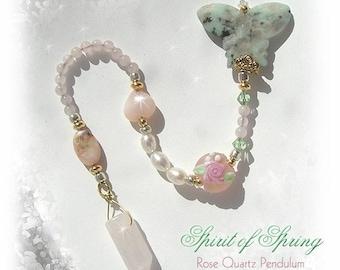 SPIRIT of SPRING Butterfly Rose Quartz Pendulum