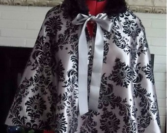 Silver Gothic Bridal Cape,Taffeta Cloak,Bridal Cover Up
