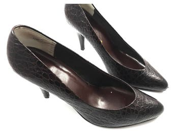 1970s dark brown leather stiletto pumps