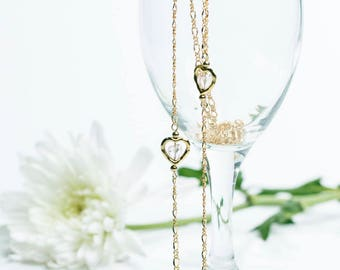 Two Hearts Gold Layering Necklace