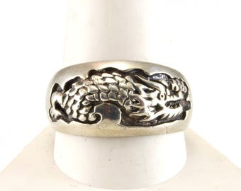 Dragon Ring, Size 12, Vintage Ring, Sterling Silver