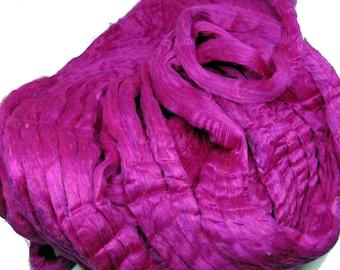 Recycled Carded Sari Silk Fibres - Tourmaline 50g