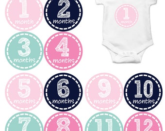 Baby Girl Month Stickers Monthly Baby Sticker Monthly Baby Stickers Baby Month Stickers Milestone Stickers Photo Stickers 176