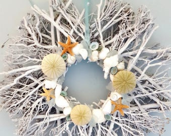 "Beach Decor Twig Seaglass Wreath - Nautical Decor Starfish, Shell  Beach Glass Wreath - 18"" WHITE"