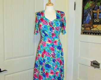 short 80's floral neon dress, tie up back, made in Canada by Evita, xs