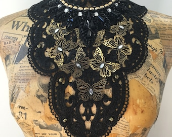 Black lace neck collar chest piece with butterflies gothic steampunk burlesque