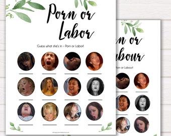 Botanical Porn or Labour Game, Labor or Porn Baby Shower Game, Porn or Labor, Labour or Lovin Baby Shower Game, Baby, Porn or Labor Game GL2