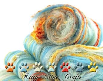 Caribbean Coral II - Merino Wool, Tussah Silk & Silk Noils - Spinning, Needle Felting, Wet Felting - Batt, Roving - Phat Fiber