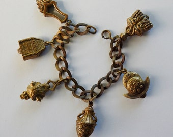 Antique Art Nouveau Brass Charm Bracelet