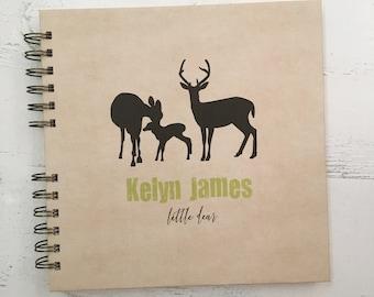 Baby Book    Baby Memory Album   Kraft Deer Family Personalized Wire Bound Baby Memory Book Keepsake Album