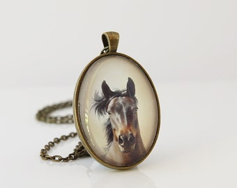 Horse Necklace, Wildlife Necklace, Horse Lover Necklace, Brown Horse, Equestrian