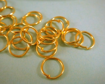 100 - 10mm Gold Jump Rings Plated Open NF 18 Gauge 10mm Outside - 100 pc - F4003JR-G10mm100