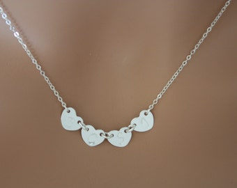 Personalized Four initial Hearts  side-by-side - All STERLING SILVER. You can make your choice number of Hearts you want, Family Initials