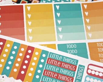 Happy Planner Stickers - Weekly Planner - Erin Condren Life Planner -  Functional stickers - Spring Stickers - Retro 80s - Mod Planner