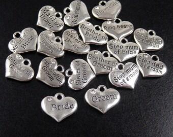 WEDDING Charm 1 Silver Heart Pendant Crystal Rhinestone Bride Groom Maid of Honor (1038chm16s1)