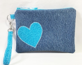 Denim and Blue Heart Cotton Wristlet/Zippered Pouch/Change Purse/Cell Phone Bag ~ Natalie Wristlet by Allica Designs Free Shipping in US