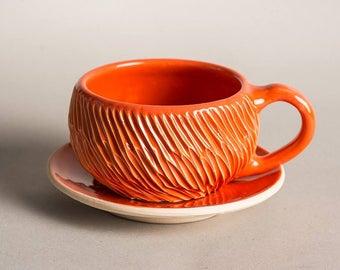 Tazze da tè, tazzine da te,  tazze ceramica, tazze con piattini, tazza rosa, tazza gialla, tazza blu, tazza verde, tazza arancione, cup, mug
