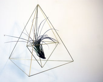 Himmeli Plant Hanger Pyramid with Air Plant - Himmeli Planter - Geometric Plant Holder - Air Plant Holder - Gold Himmeli Decor