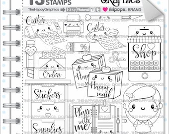 Planner Girl Stamps 80OFF Commercial Use Digi Stamp Digital Image