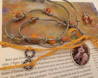 Bohemian medallion and romantic set orange