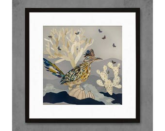 Indigo Morning Roadrunner and Cactus Art Print