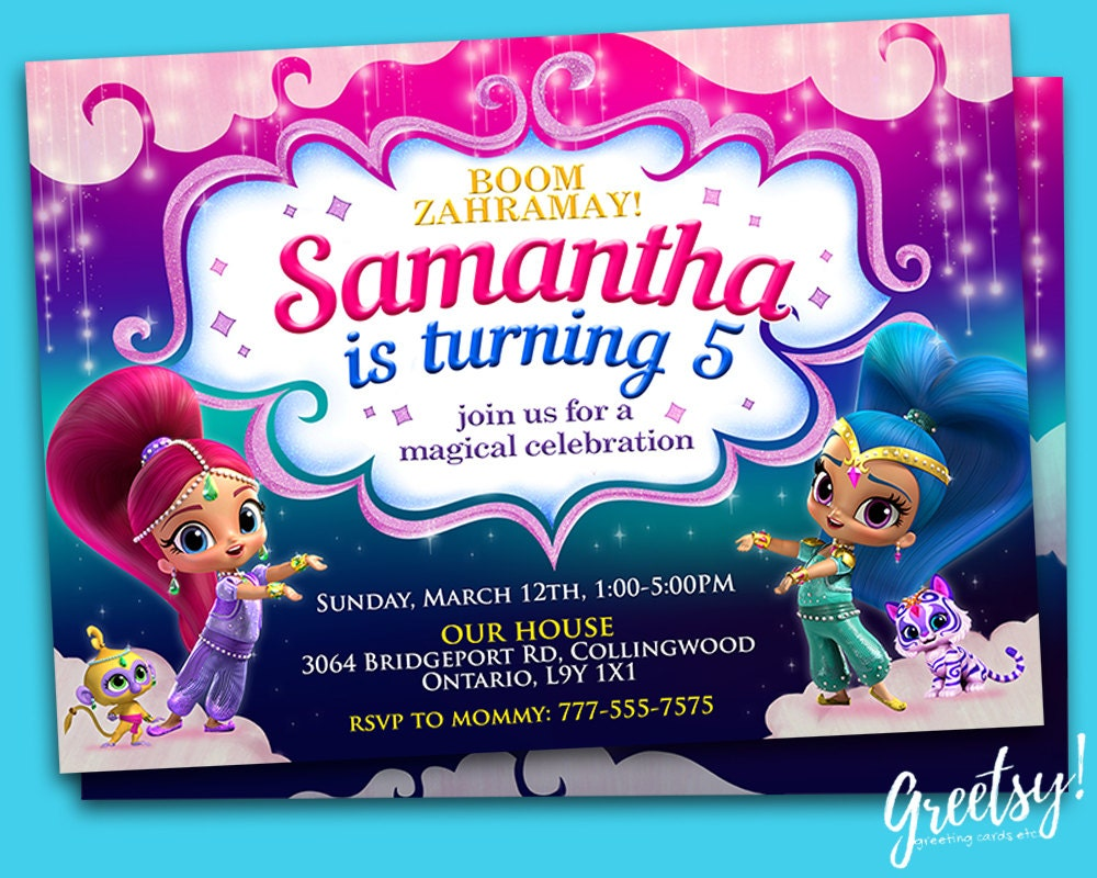 Shimmer and Shine Invitation Shimmer and Shine Birthday
