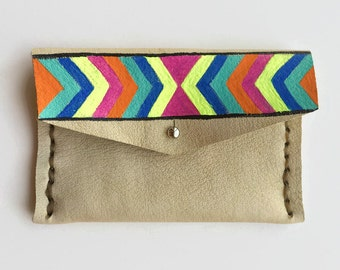 Handmade Leather Wallet - Brown - Leather Wallet - Chevron