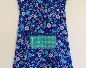 Blue Butterfly Smock Dress