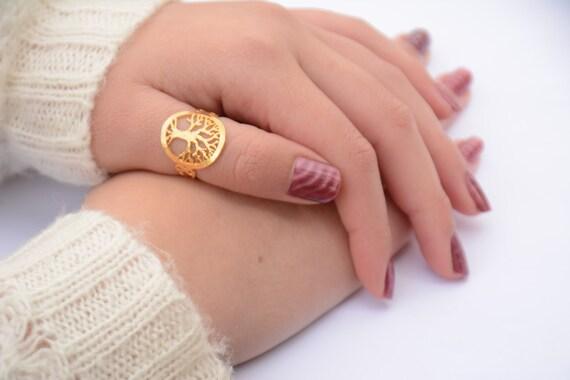 Baum der Rettungsring Daumen-Ring gold Baum des Lebens-Ring