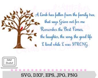 Grief Tree SVG - Family Tree SVG - Grief Tree Printable - Digital Cutting File - Cricut SVG - Instant Download - Svg, Dxf, Jpg, Eps, Png