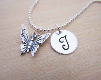 Butterfly Necklace - Butterfly Charm - Personalized Necklace - Custom Initial Necklace - Initial Jewelry - Monogram Necklace - Gift for Her