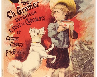 Vintage Cacao Lacte Chocolate French Advertising Poster Print