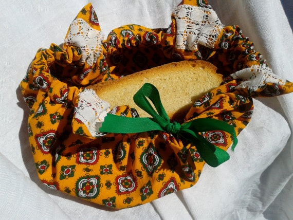 Orange Bread Basket Bag Handmade Cotton Provence Fabric Bread Pouch Green Ribbon #SophieLadyDeParis