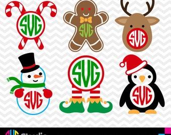 CHRISTMAS MONOGRAM SVG Files, Silhouette, Die Cut, Vinyl Cutter, Monogram, Screen Printing svg#018