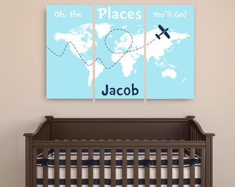 Personalized dr seuss poster print we are all a little weird personalized dr seuss canvas art oh the places youll go canvas map with name set of 3 travel world map nursery canvas print with name gumiabroncs Choice Image
