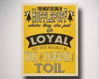 Hufflepuff Poster / Harry Potter Poster / Hufflepuff House Art / Harry Potter Typography / Hogwarts Houses Collection