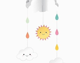 Mobile Baby Nursery Mobile Cloud Mobile Hanging Mobile Baby Shower Decor Birthday Decorations Sunshine Kawaii Home Decor Emoji Party