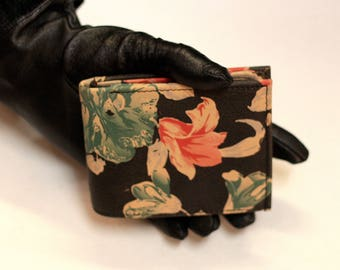 Large Tiny Wallet Spanish Floral Print Leather