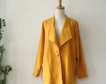 Vintage yellow coat. Yellow silk 90s coat. Mod yellow coat. Mustard coat. Yellow winter coat. Womens gold coat. Silk coat