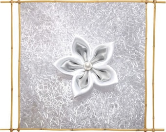 satin white and gray No. 46 flower