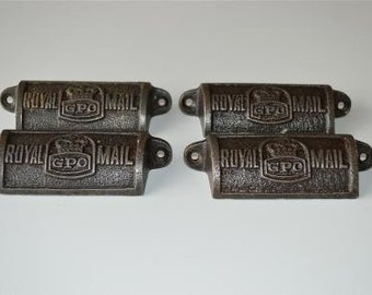 A set of 4 vintage style cast iron Royal Mail GPO drawer pulls GPO