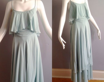 Sale Vintage 70s Boho Hippie MOLLIE PARNIS Flutter Dress ~ Tiered Chiffon Layer Mint Green Maxi ~ Gown