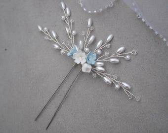 Wedding Hair Accessory, Something Blue, Hair Pin, Hair Accessory, Accessories, Flower Hair Pin, Something Blue Accessory