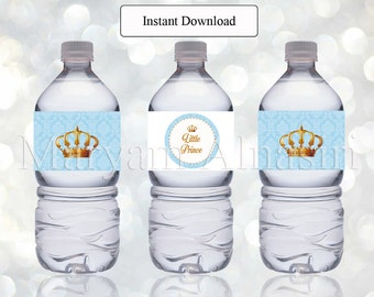 Printable bottle label ,royal theme ,royal crown,  Instant Download , DIY - digital file