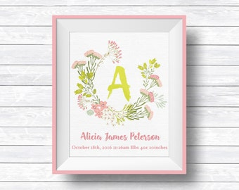 Monogram Letter, Floral Monogram Letter, Birth Stats Sign, Nursery Monogram, Girl Room Decoration, Nursery Printables, Initial Wall Decor