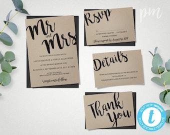 Wedding Invitation Printable Template, Mr and Mrs Wedding Invite Editable Template, Instant Download Printable Invitation, Kraft Invitation