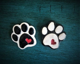 Ceramic Paw with Heart Magnet