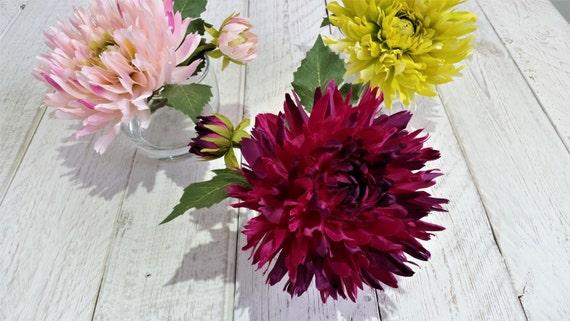 Dark pink silk dahlia in glass vase silk flower arrangement like this item mightylinksfo Image collections