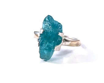 Raw Blue Apatite and Sterling Silver Ring, Handmade, Size 5 1/2