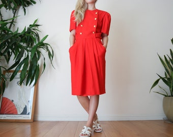 Red Double Breasted Dress / Red Linen Dress / Red Linen Rayon Blend Dress / 80s Secretary Dress / Vintage Red Dress / small-med dress